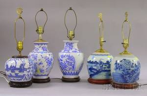 Five Chinese Export Porcelain Blue and White Decorated Jars and Vases as Lamps