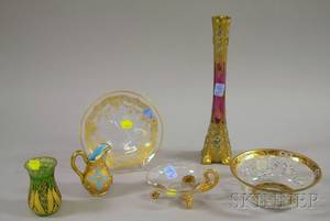 Six Gilt and Enamel Decorated Art Glass Table Items