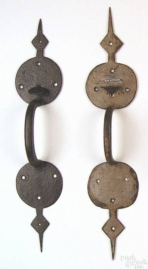 Two large Suffolk wrought iron thumb latches 18th c