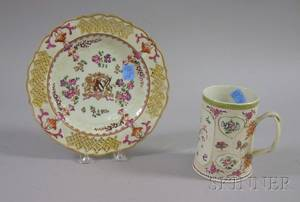 Chinese Export Porcelain Mug and a Samson Armorial Decorated Porcelain Plate with Reticulated Rim