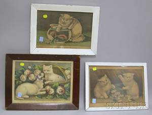 Five Framed Currier  Ives Small Folio Handcolored Lithograph Cat Prints