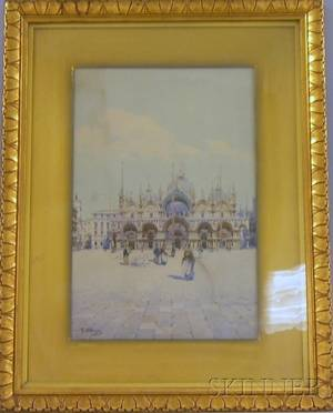 Framed Watercolor on Paper of the Piazza San Marco in front of the Doges Palace Attributed to Camillo Bortoluzzi Italian 186