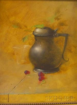 Framed Oil on Board Still Life with a Pewter Stein and Raspberries by Donald F Allan American b 1927