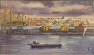 Framed Watercolor on PaperBoard View of New York Harbor