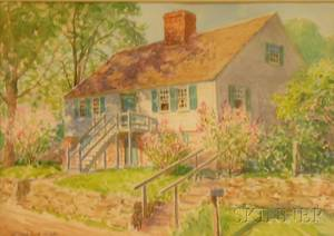 Framed Watercolor on PaperBoard House View by Winfield Scott Clime American 18811958