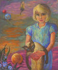 Lot of Seven Framed and Unframed Oil on Board and Canvas Landscapes and Portraits six by Marie Haines Burt also known as Marie