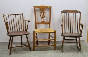 Windsor Stepdown Armrocker and Rodback Armchair and a Country Chippendale Maple Side Chair