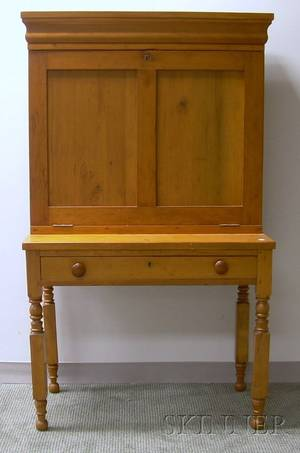 Country Classical Pine and Maple Fallfront Plantation Desk