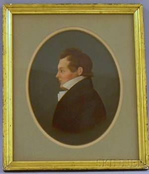 Framed Oil on PaperBoard Portrait of Young Man in the Manner of William Von Moll Berczy Canadian 17441813