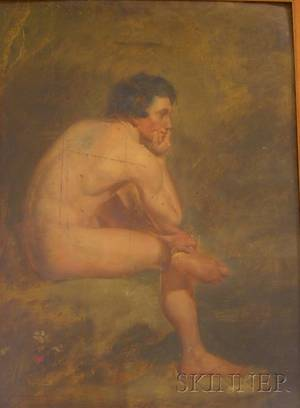 Framed 19th Century American School Academic Portrait Study of a Male Nude A DoubleSided Composition