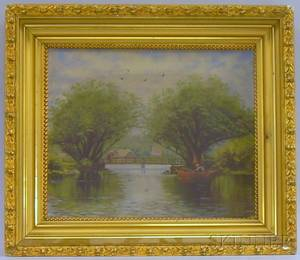 Framed 20th Century American School Oil on Canvas View of a Fisherman on a Lake