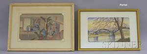 Lot of Five Framed and Unframed Japanese Woodblock Prints and Watercolors on Silk