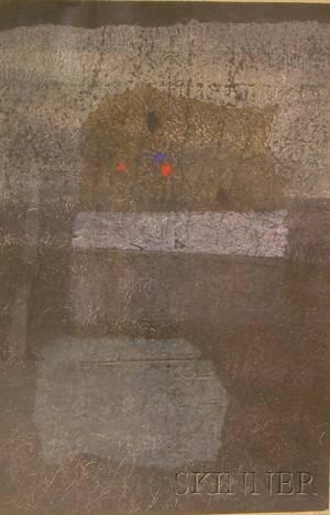 Framed Woodblock Print Stone Flower Grey by Hideo Hagiwara Japanese b 1913