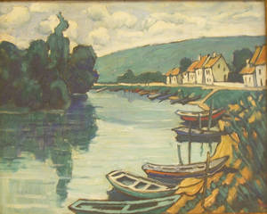 Framed Oil on Canvas River View In the Manner of Vincent van Gogh