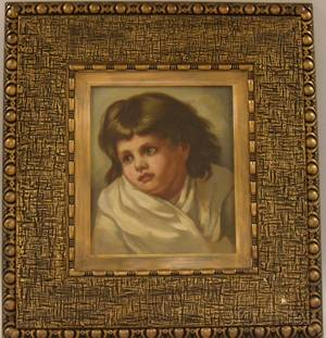 Framed American 19th20th Century Oil on Canvas Portrait of a Child