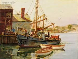J J Enwright American 19112001 Coastal Landscape with Fishing Wharf