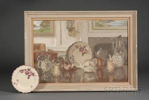 Donald Towner British 19031985 Oil Painting and a Creamware Plate
