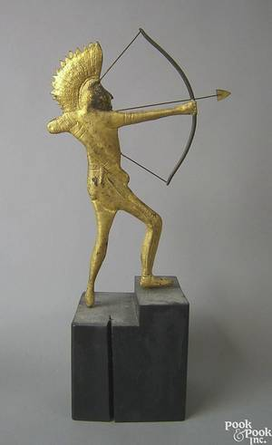 American hollow bodied gilded Indian weathervane late 19th c