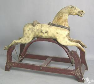 American carved and painted rocking horse