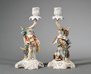 Pair of Continental Porcelain Figural Candlesticks