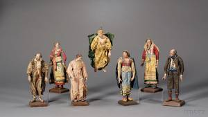 Important Extensive Collection of Fortyfour Italian Creche Figures