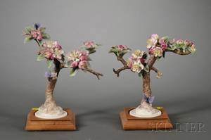 Pair of Royal Worcester Porcelain Models of Crabapple Branches