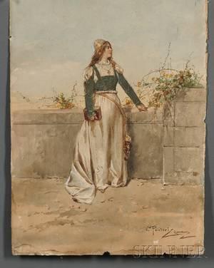 Carlo Polidori Italian 19th Century At the Castle Wall