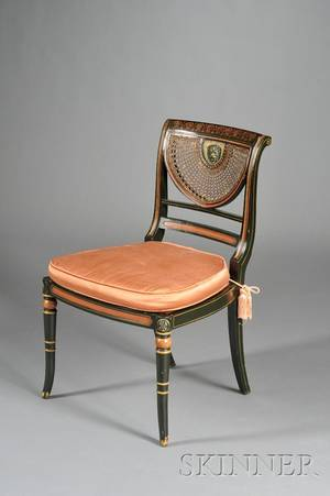 Regency Style Polychrome Painted and Carved Beechwood Caned Side Chair