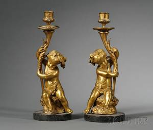 Pair of Louis XVstyle Bronze Figural Candlesticks
