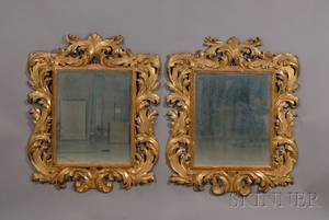 Pair of Large Continental Baroquestyle Giltwood Mirrors