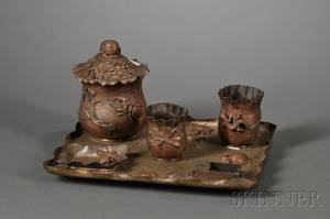Aesthetic Movement Japonisme Patinated Metal Smoking Set