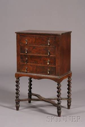 William and Mary Style Burl Walnut Diminutive Chest on Frame