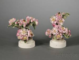 Pair of Royal Worcester Porcelain Dorothy Doughty Models of Apple Blossoms and Bees