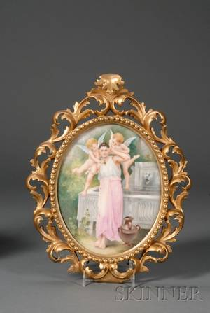 German Painted Porcelain Plaque in Giltwood Frame