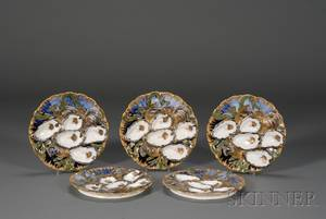 Set of Five Limoges Porcelain Oyster Plates