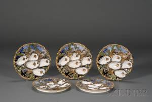 Set of Five Limoges Porcelain Oyster Plates