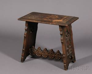 Gothic Revival Carved Oak Stool