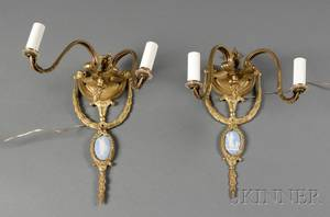 Pair of Wedgwoodmounted Bronze Wall Sconces