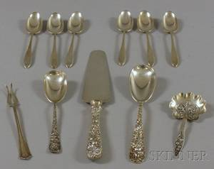 Five Sterling Silver Flatware Items and a Set of Six Sterling Spoons