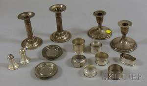 Group of Sterling Napkin Rings Candlesticks and Salts