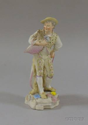 Bisque Figure of a Boy and Dog