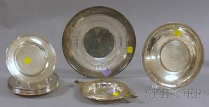 Set of Ten International Sterling Silver Side Plates and Two Sterling Trays