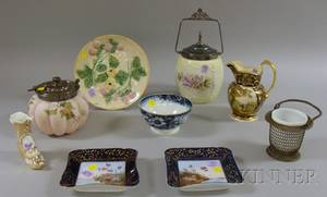 Two Late Victorian Art Glass Biscuit Jars and Seven Decorated Ceramic and Glass Items