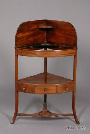 English Mahogany Corner Washstand