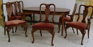 Set of Six Hickory Chair Co Queen Anne Style Walnut Dining Chairs with a Drexel Travis Court Dining Table
