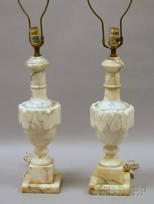 Pair of Carved Marble Urnform Table Lamps