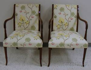 Pair of Regencystyle Floral Brocade Upholstered Carved Mahogany Armchairs