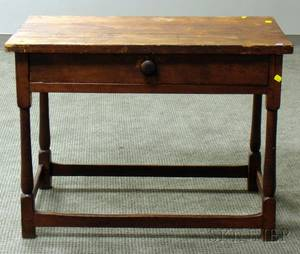 Pine and Cherry Tavern Table with Drawer
