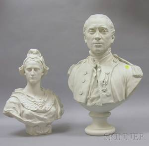 Large Sevres Parian Bust of Marie Antoinette and a Plaster Bust of John Paul Jones