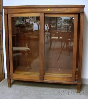 Neoclassical Mahogany and Mahogany Veneer Book Cabinet with Two Sliding Doors